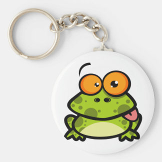 A cute and green spotted frog with orange eyes keychain