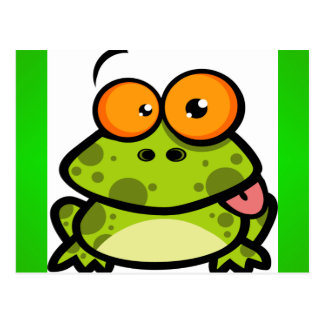 A cute and green spotted frog with orange eyes postcard