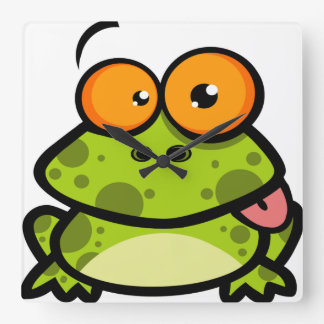 A cute and green spotted frog with orange eyes square wall clock