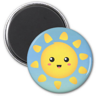 A cute and happy sun that shines brightly around fridge magnet