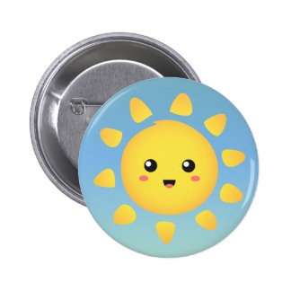 A cute and happy sun that shines brightly around pinback button