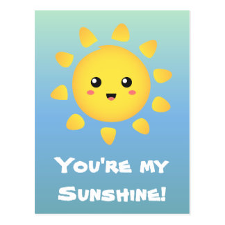 A cute and happy sun that shines brightly around postcard
