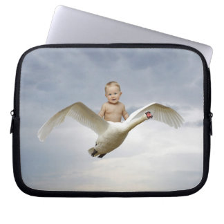 A cute baby and swan fantasy laptop computer sleeve