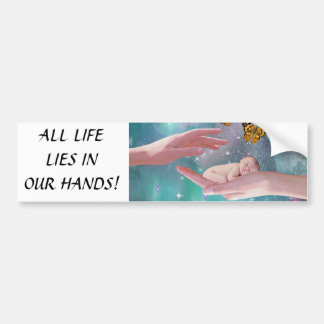 A cute baby boy in hand fantasy bumper sticker