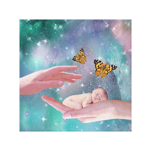 A cute baby boy in hand fantasy canvas print