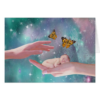 A cute baby boy in hand fantasy card