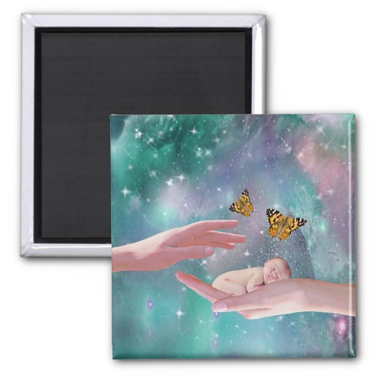 A cute baby boy in hand fantasy magnet