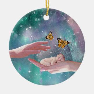 A cute baby in hand fantasy ceramic ornament