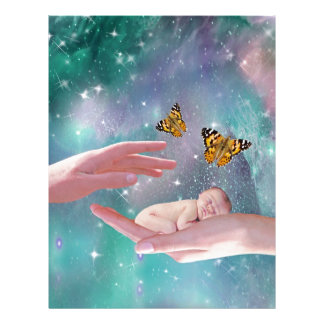 A cute baby in hand fantasy letterhead
