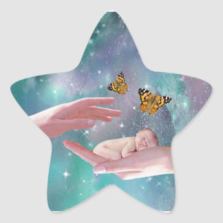 A cute baby in hand fantasy star sticker