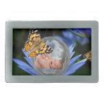 A cute baby lily butterfly bubble rectangular belt buckles