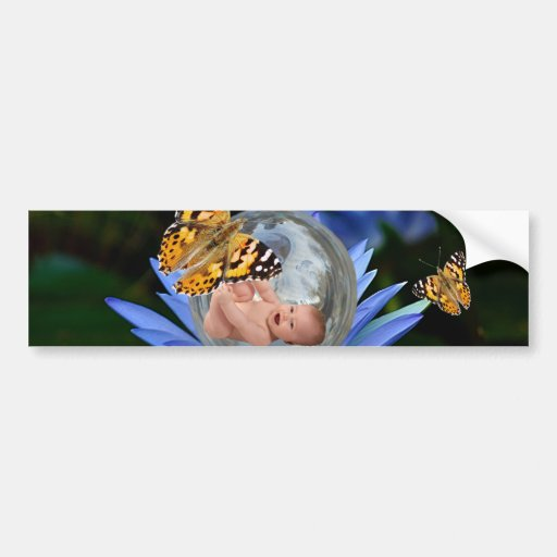 A cute baby lily butterfly bubble car bumper sticker