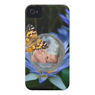 A cute baby lily butterfly bubble Case-Mate iPhone 4 cases