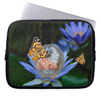 A cute baby lily butterfly bubble laptop computer sleeves