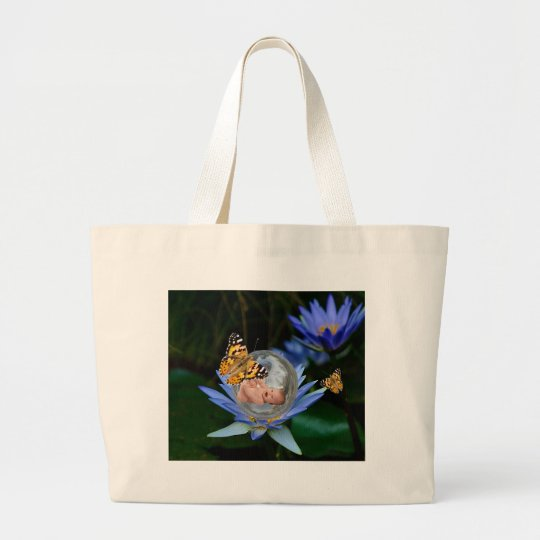 A cute baby lily butterfly bubble large tote bag