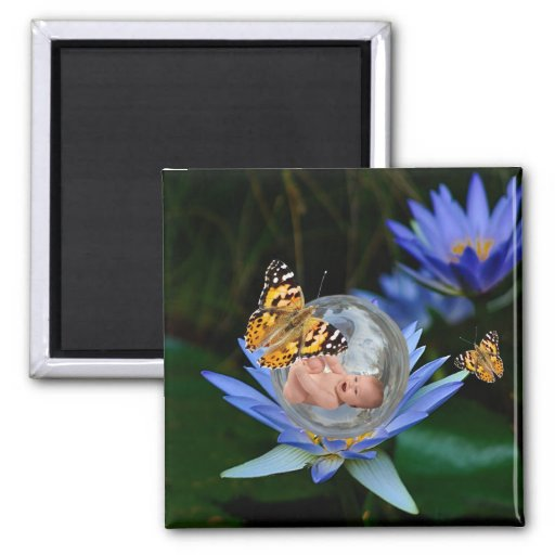 A cute baby lily butterfly bubble refrigerator magnets