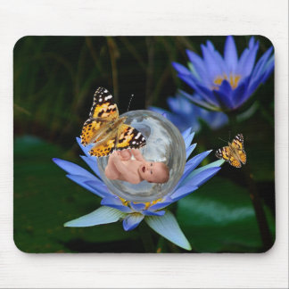 A cute baby lily butterfly bubble mouse pad