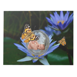 A cute baby lily butterfly bubble notepad
