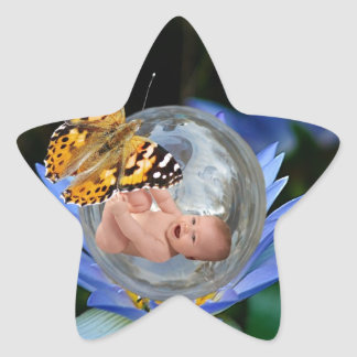 A cute baby lily butterfly bubble star sticker