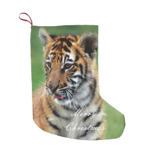 A cute baby tiger small christmas stocking