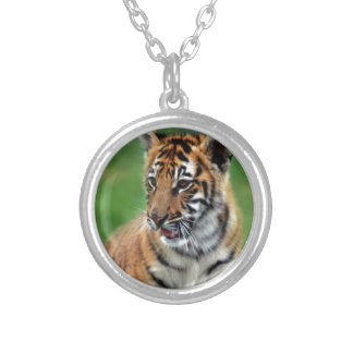 A cute baby tiger round pendant necklace