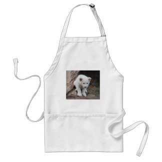 A cute baby white lion adult apron