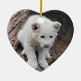 A cute baby white lion Double-Sided heart ceramic christmas ornament