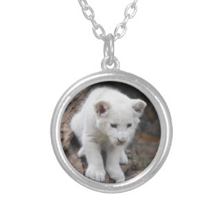 A cute baby white lion round pendant necklace