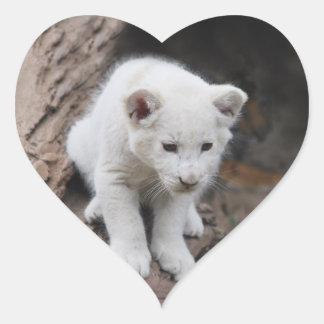 A cute baby white lion heart sticker