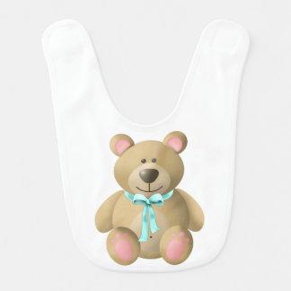 A cute bear on a baby bib