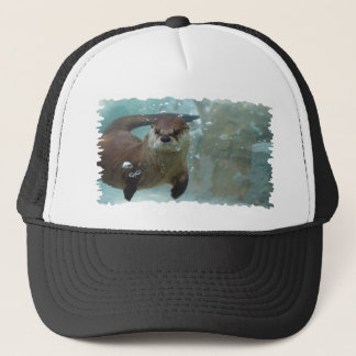 A cute Brown otter swimming in a clear blue pool Trucker Hat