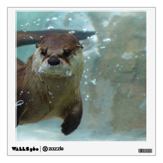 A cute Brown otter swimming in a clear blue pool Wall Sticker