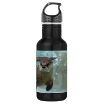 A cute Brown otter swimming in a clear blue pool Water Bottle