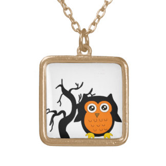 A Cute Brown Owl Gold Plated Necklace