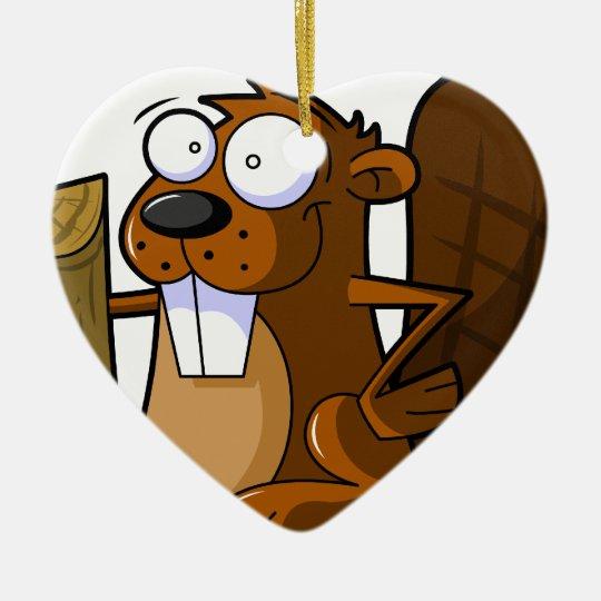A Cute Cartoon Beaver Character Holding a Log Ceramic Ornament