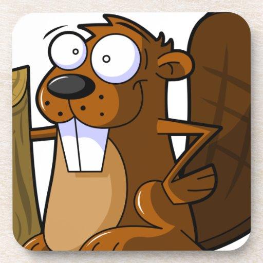 A Cute Cartoon Beaver Character Holding a Log Coasters