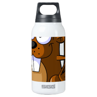A Cute Cartoon Beaver Character Holding a Log Thermos Bottle