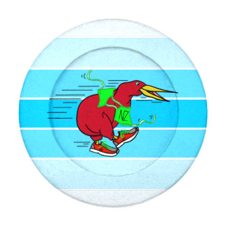 A cute cartoon Kiwi runnig wearing red sneakers Button Covers