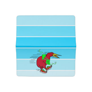 A cute cartoon Kiwi runnig wearing red sneakers Checkbook Cover