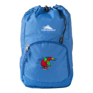 A cute cartoon Kiwi runnig wearing red sneakers High Sierra Backpack