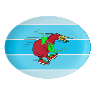A cute cartoon Kiwi runnig wearing red sneakers Porcelain Serving Platter