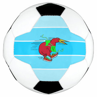 A cute cartoon Kiwi runnig wearing red sneakers Soccer Ball
