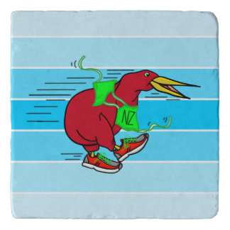 A cute cartoon Kiwi runnig wearing red sneakers Trivet