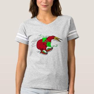 A cute cartoon Kiwi runnig wearing red trainers T-shirt
