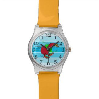 A cute cartoon Kiwi runnig wearing red trainers Wrist Watches