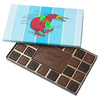 A cute cartoon Kiwi running wearing shoes 45 Piece Box Of Chocolates