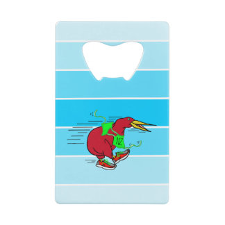 A cute cartoon Kiwi running wearing shoes Credit Card Bottle Opener