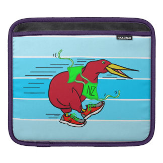 A cute cartoon Kiwi running wearing shoes iPad Sleeve