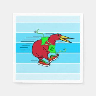 A cute cartoon Kiwi running wearing shoes Paper Napkin