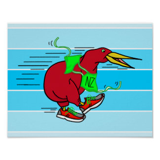 A cute cartoon Kiwi running wearing shoes Poster